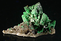 Torbernite on matrix. Margabal mine near Entraygues sur Truyere, Aveyron, France.
